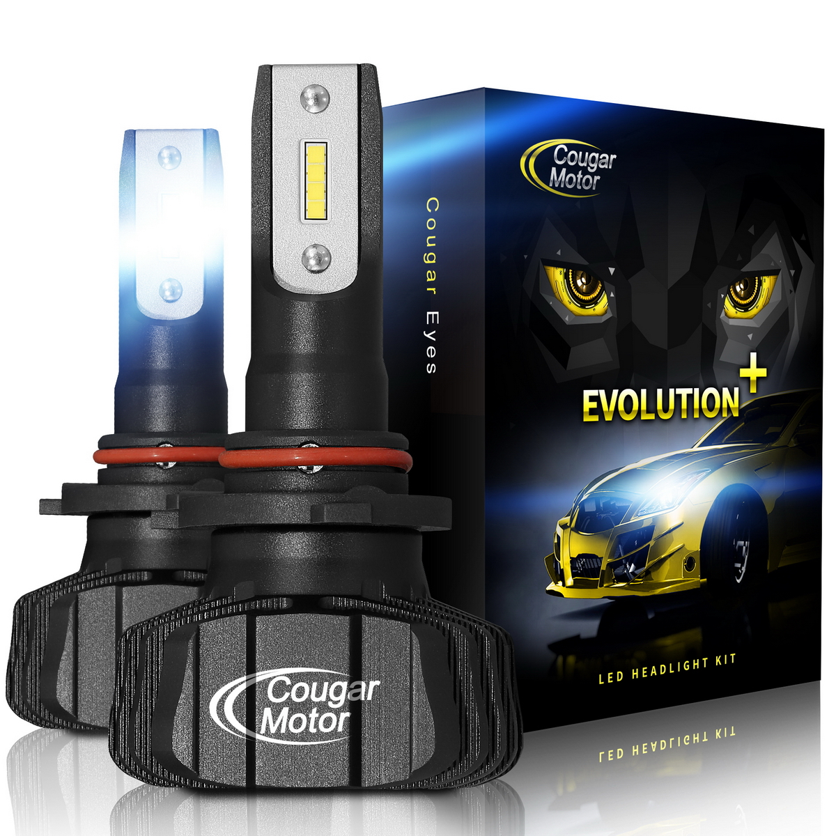 Cougar Motor 9005 Led Headlight Bulbs 9600lm 6500k Hb3 Fanless All In One Conversion Kit 3d Bionic Technology