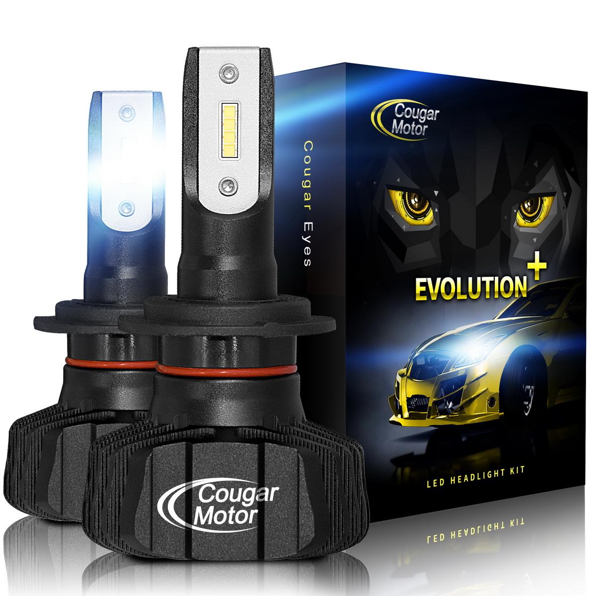 360/°Adjustable Beam 3D Bionic Technology High//Low Fanless Conversion Kit 9600Lm 6500K Cougar Motor 9007 Led headlight bulb