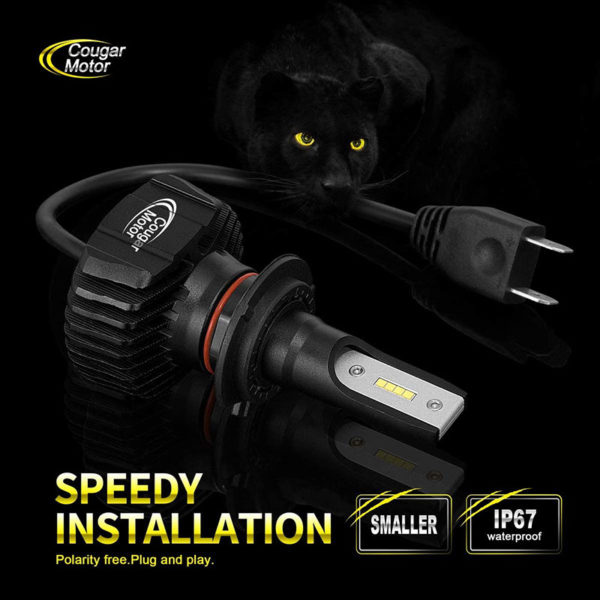 Cougar Motor 9007 Led Headlight Bulbs 9600Lm 6500K Fanless All In One Conversion Kit_05
