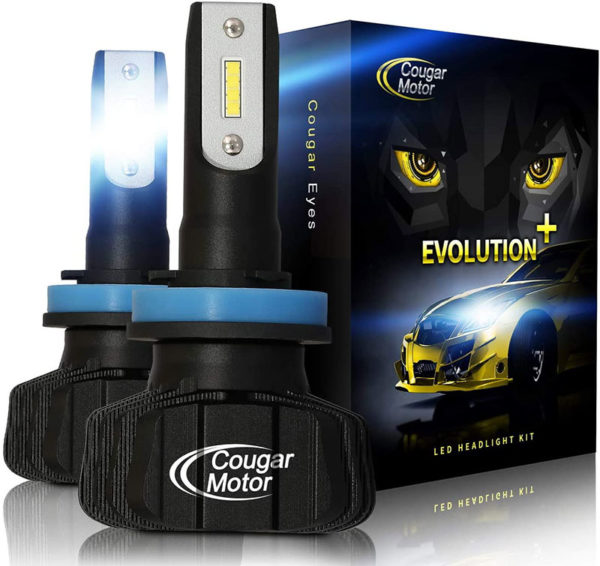 Cougar Motor H11 Led Headlight Bulbs 9600Lm 6500K Fanless All In One Conversion Kit_01