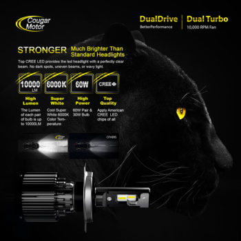 Cougar Motor H4 Led Headlight Bulbs 10000 Lumens Super Bright 6000K Cool White_02