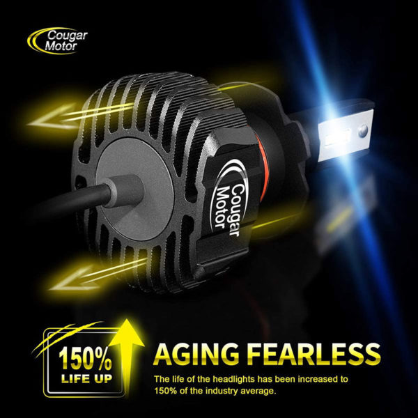 Cougar Motor H4 Led Headlight Bulbs 9600Lm 6500K Fanless All In One Conversion Kit_06
