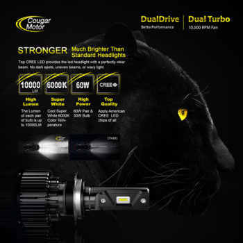 Cougar Motor H7 Led Headlight Bulbs 10000 Lumens Super Bright 6000K Cool White_02