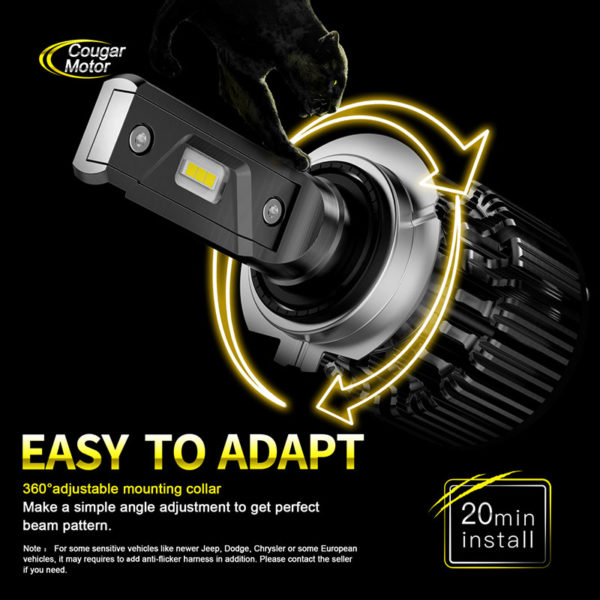 Cougar Motor H7 Led Headlight Bulbs 10000 Lumens Super Bright 6000K Cool White_06