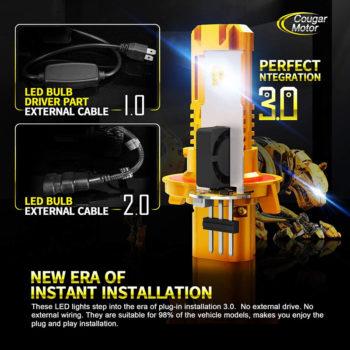 Cougar Motor H13 Wireless LED Headlight Bulbs 12000Lm 6500K Slim Cool White_02